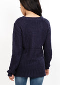 Ripped side bottom knitted jumper in navy