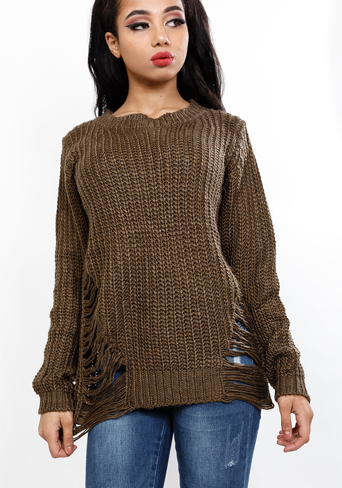 Ripped side bottom knitted jumper in olive