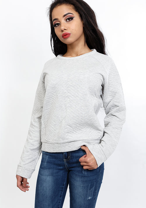 Quilted crew neck sweatshirt in light grey