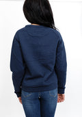 Quilted crew neck sweatshirt in navy