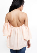 Off shoulder ruffle blouse with lace detail in peach