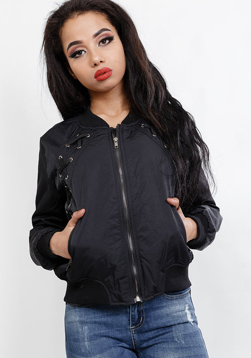 Lace front bomber jacket in black