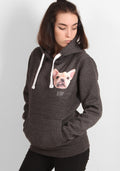 Derp Frenchie Hoodie in dark grey