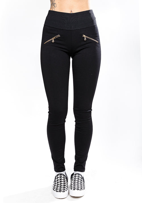 'HOURGLASS' Super-stretch high waist leggings-pants in black