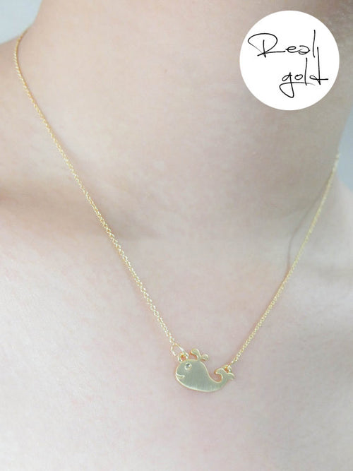 Whale - Gold plated necklace