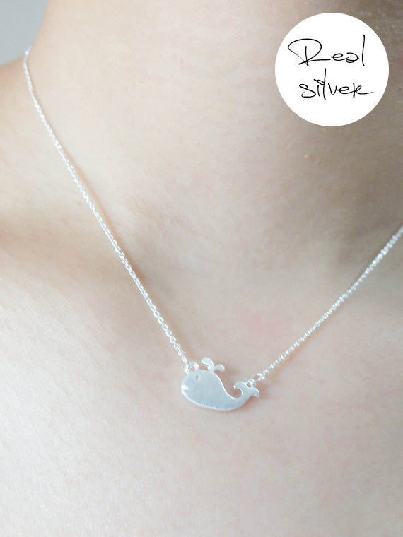Whale - Silver plated necklace