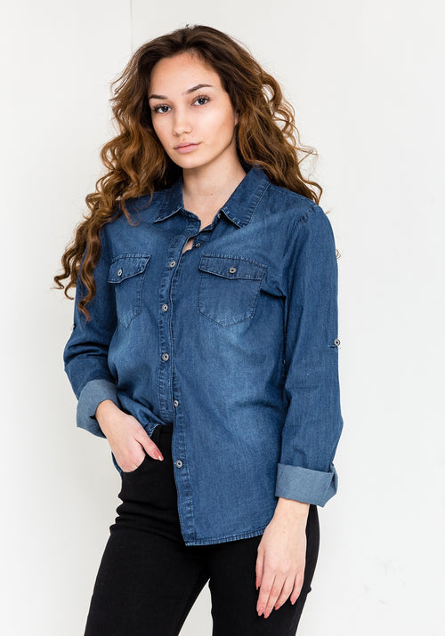Jeans jacket button up shirt in blue