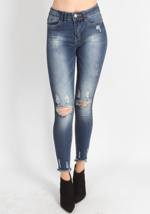 Ripped high-waist blue jeans