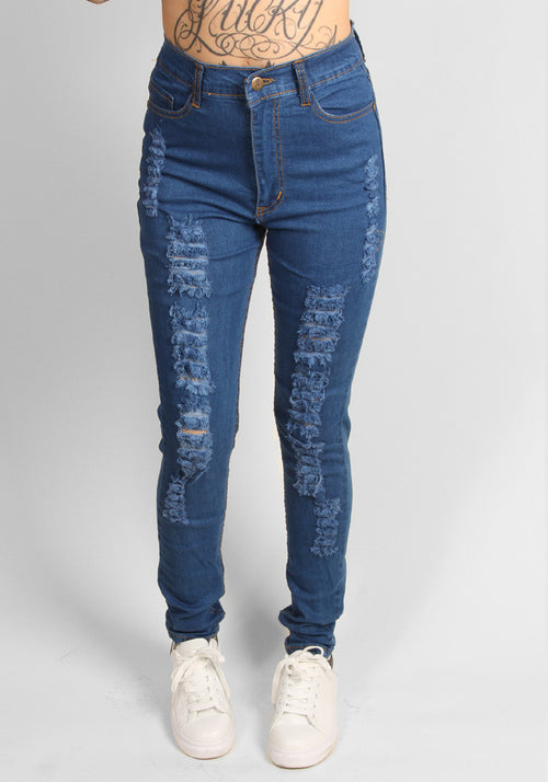 High waist ripped jeans in classic blue