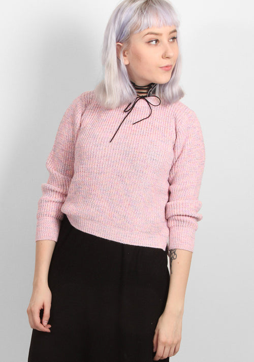 Baby pink rainbow crop knit