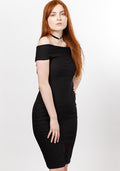 Knox off shoulder bodycon dress in black
