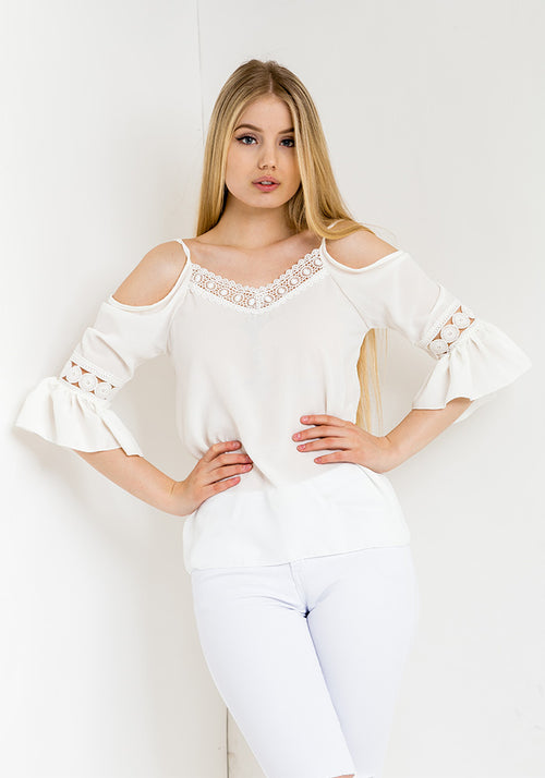 Off shoulder lace detail blouse in white