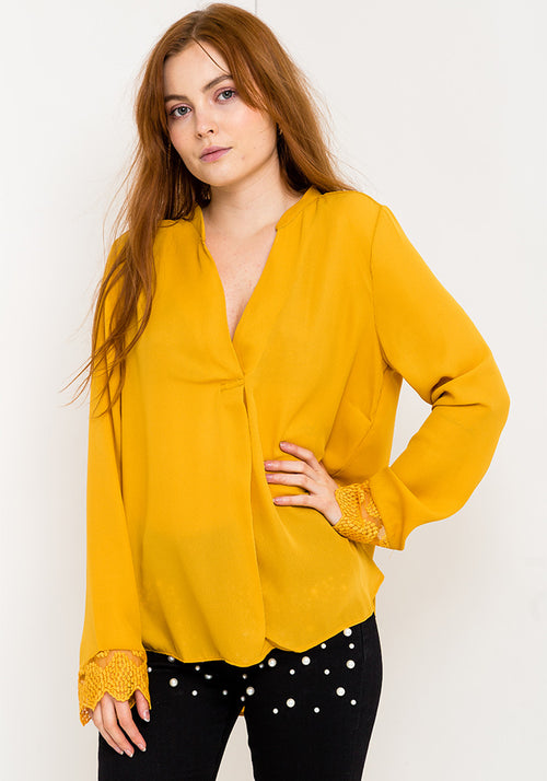 Long sleeve v-neck blouse in amber