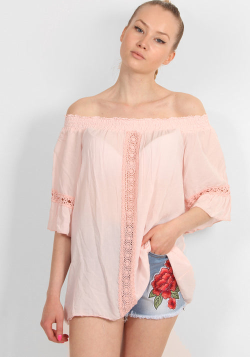 Off shoulder embroidered baby pink top
