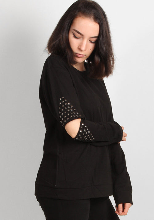 Elbow detail sweater in black