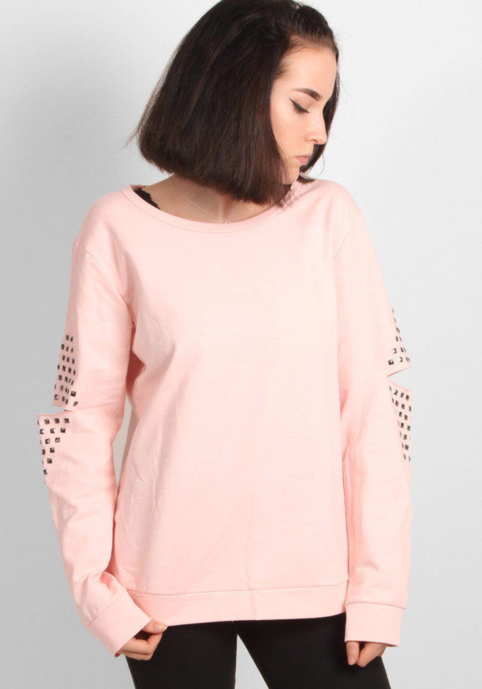 Elbow detail sweater in baby pink