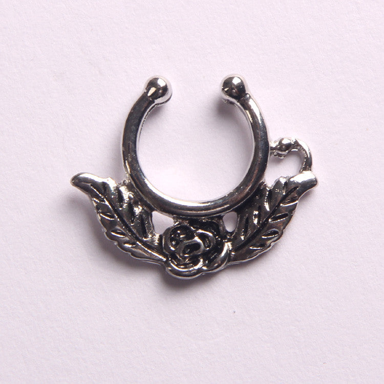 'ROSE'  SILVER - FAUX SEPTUM PIERCING