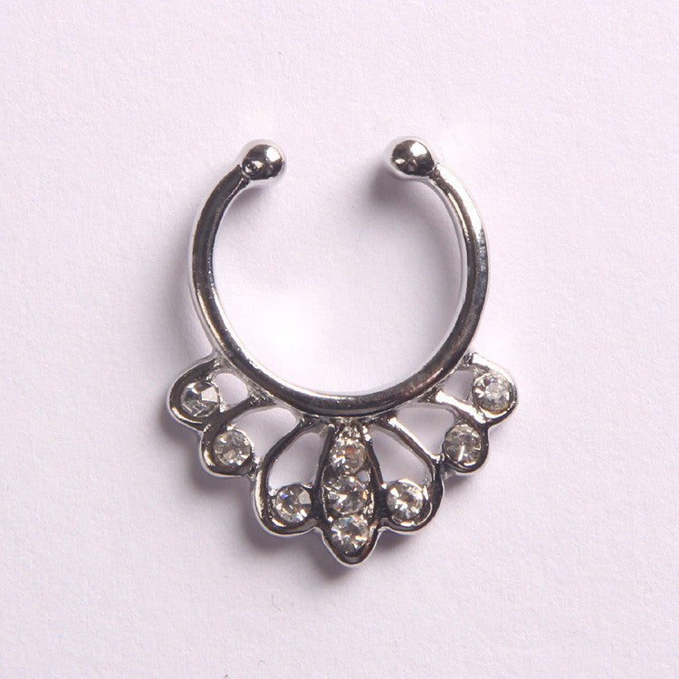 'QUEEN'  SILVER - FAUX SEPTUM PIERCING