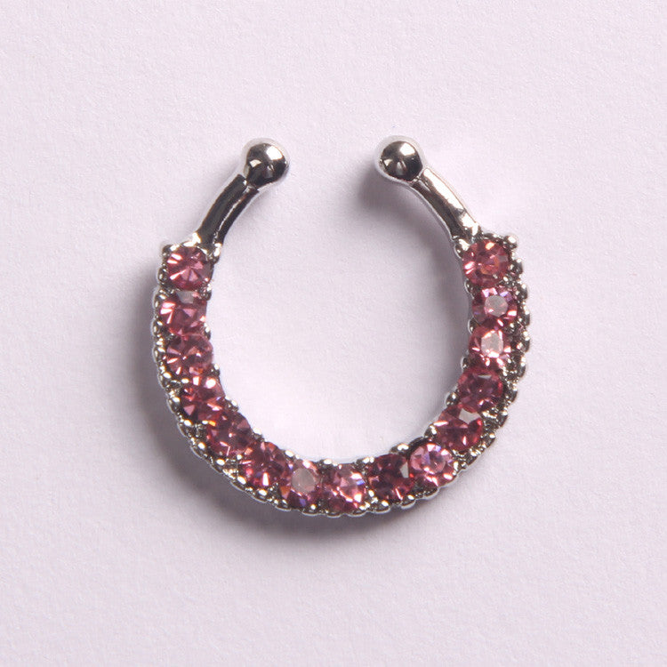 'BLING'  SILVER & PINK - FAUX SEPTUM PIERCING