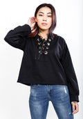 Black laced up crop hoodie
