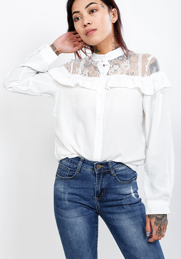 Long sleeve lace blouse in white