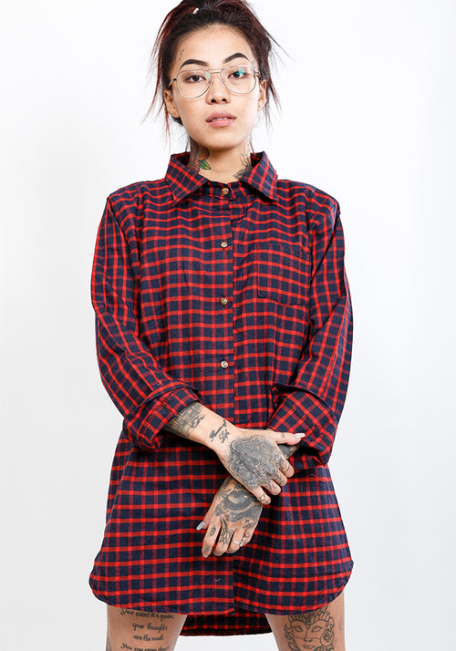 Boyfriend red and navy oversize flannel shirt