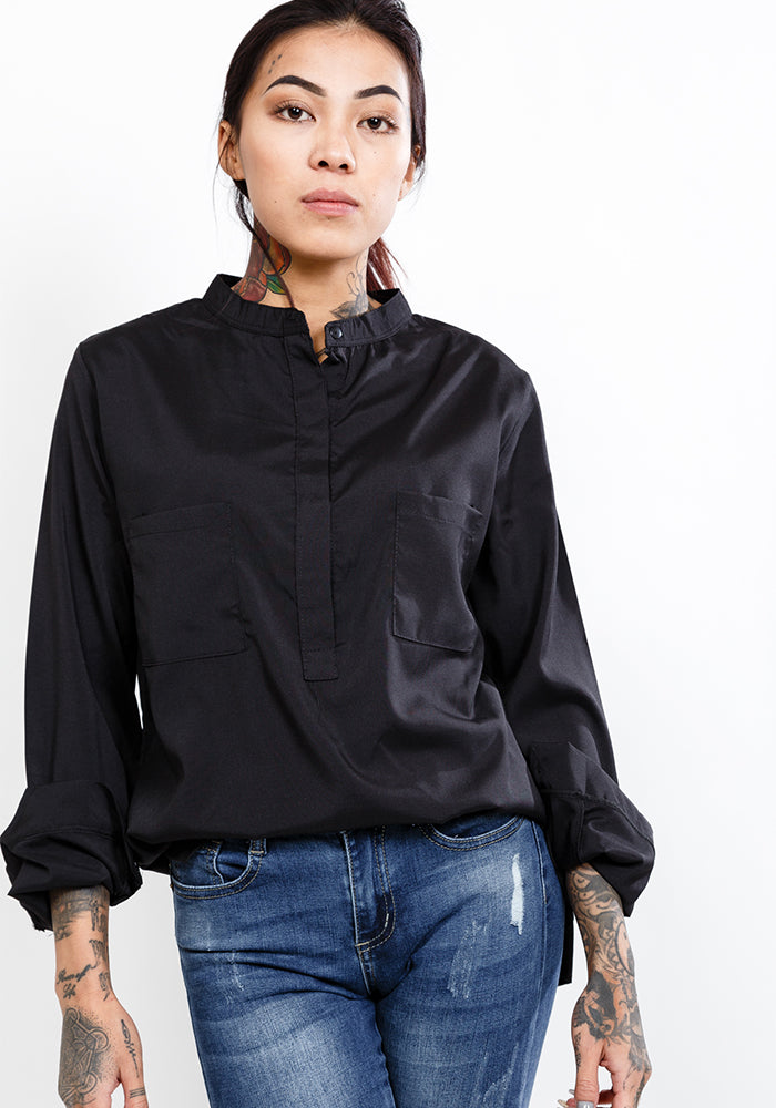 Long sleeve shirt with stand collar in black