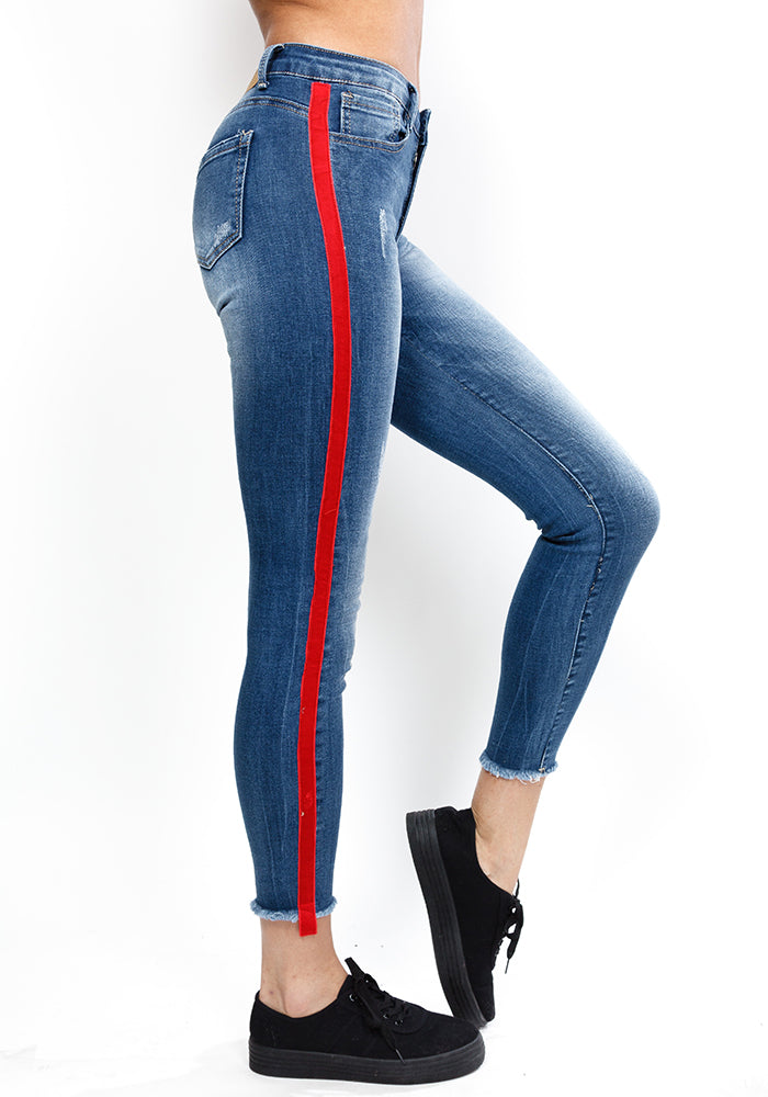 Red Side Stripe Skinny Jeans Fiorella Shop