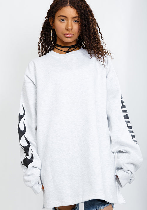 Bandidas flames oversize sweater in white