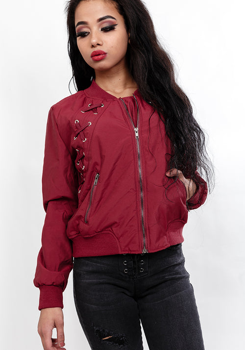 Lace front bomber jacket in wine