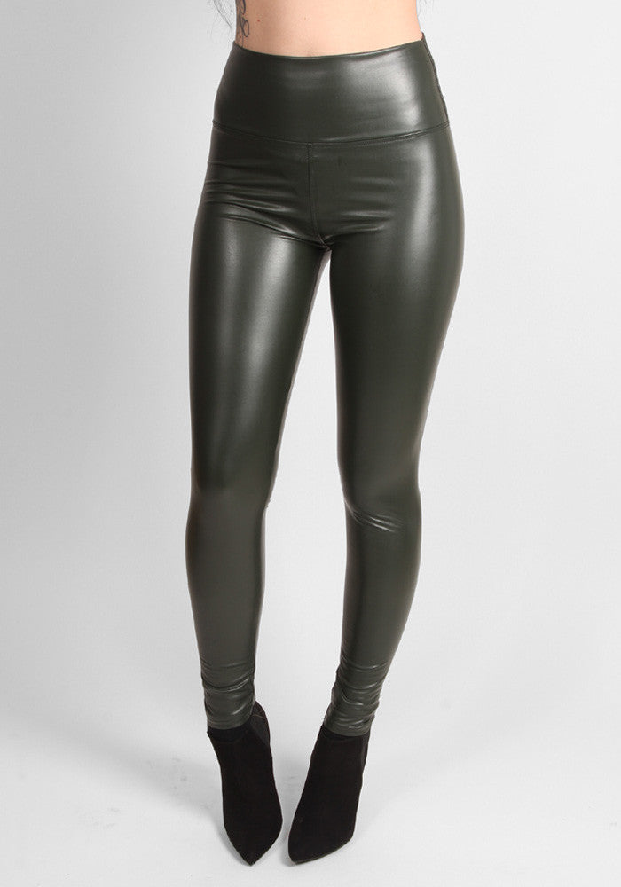 Green faux leather high waisted leggings