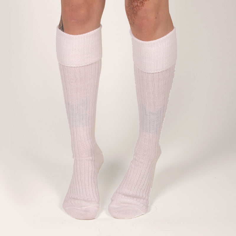RIBBED KNEE SOCKS - WHITE