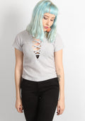 Lace up tee in grey