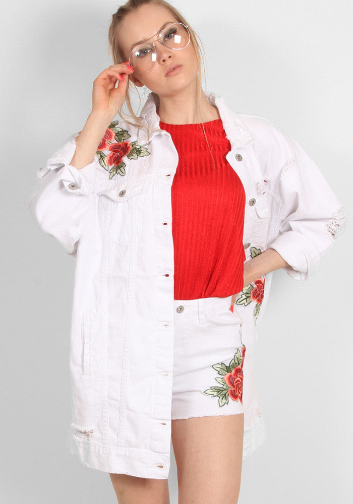 Lux oversize white embroided jeans jacket