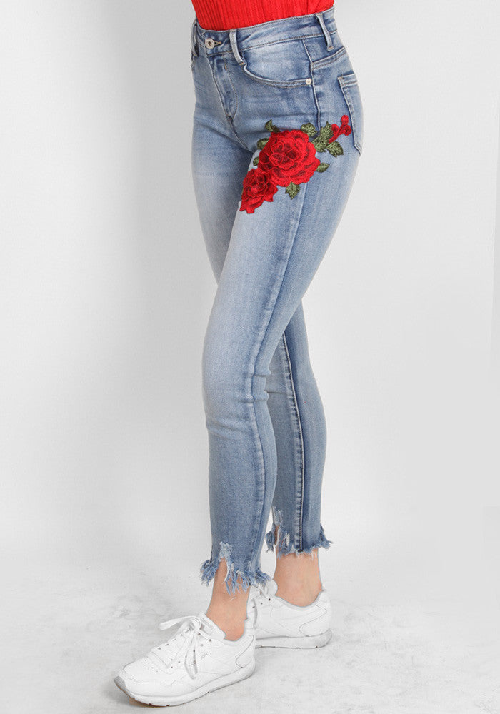 Rose embroided jeans