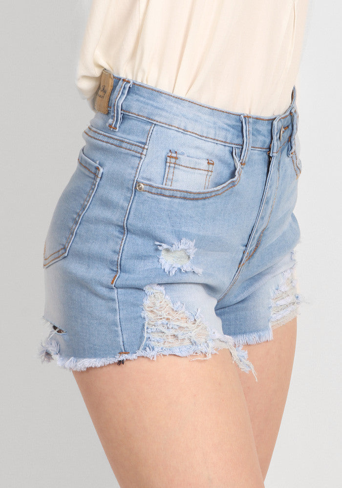 Ripped high waist jeans shorts u2013 FIORELLA SHOP
