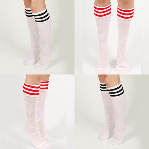 White ribbed knee socks in multiple colours