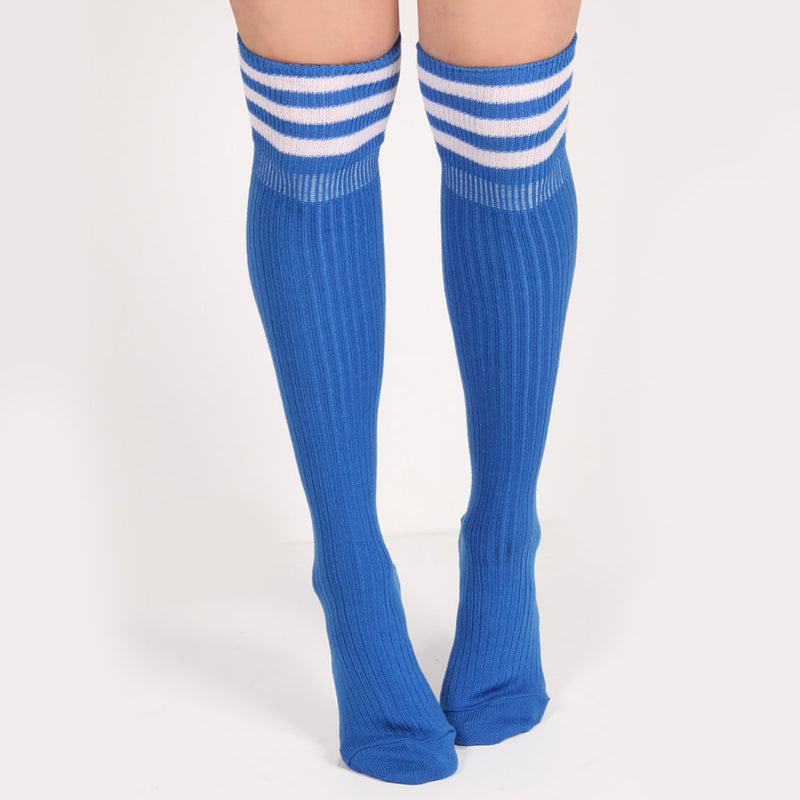 RIBBED KNEE SOCKS - SKY BLUE