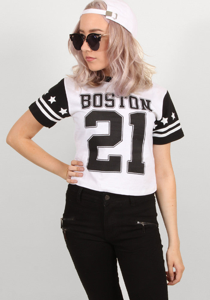 Boston sporty crop tee in white