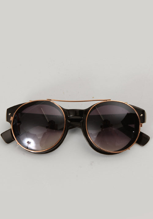 Black round sunglasses with metal clips