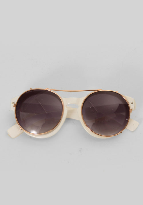 White round sunglasses with metal clips