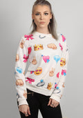 Emoji dope printed sweater in white