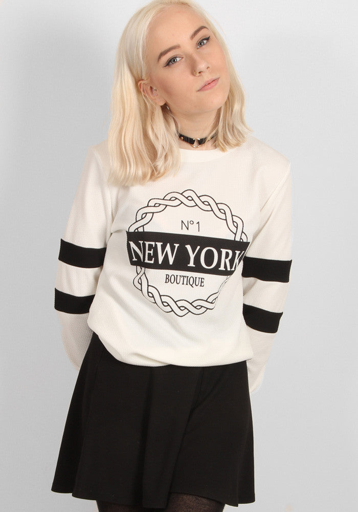 New York Boutique Sweater in White