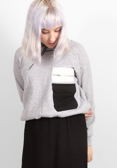 Grey Nerd Sweater With Pockets