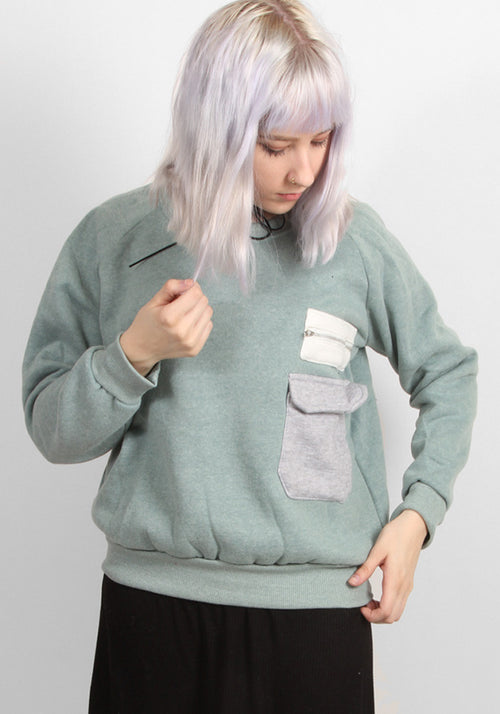 Green Nerd Sweater With Pockets