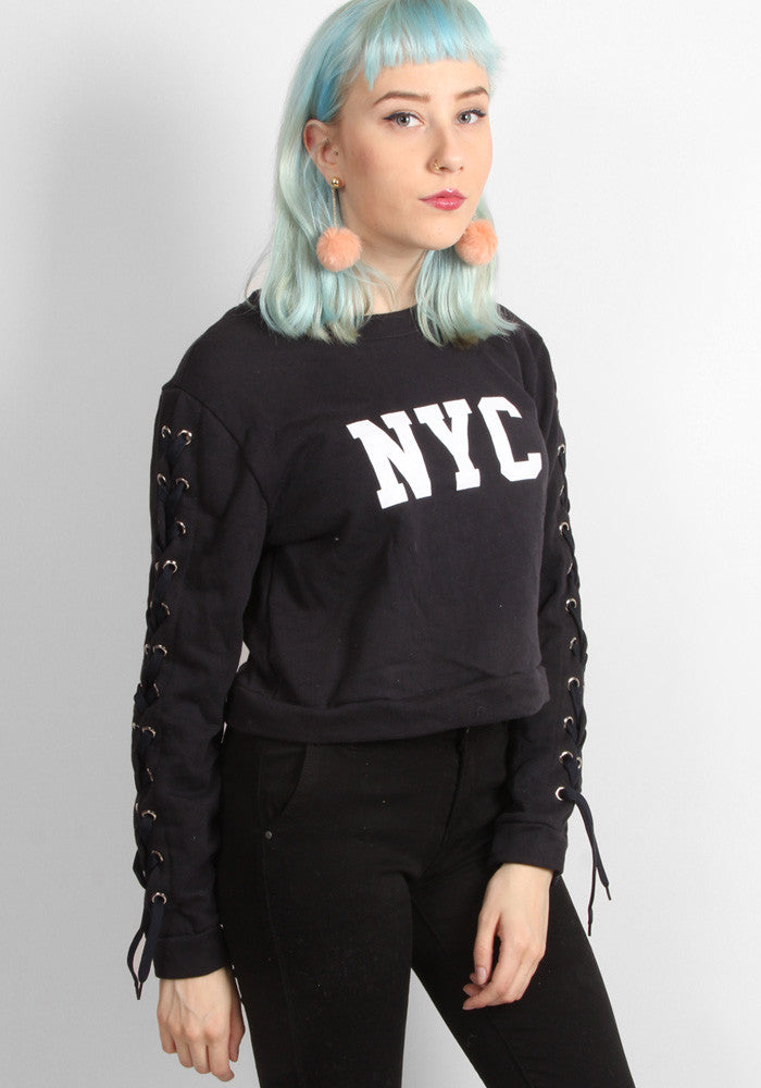 Navy Lace-up NYC Crop Sweater
