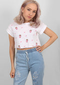 Popcorn embroided crop tee