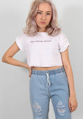 Stay with me forever white crop tee
