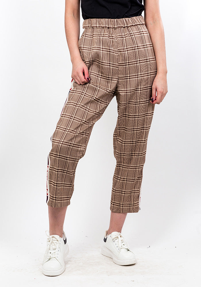 Checkered high waist trousers in brown