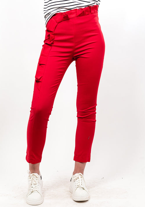 Red frill detail pants